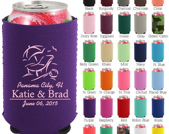 Personalized Neoprene Can Cooler (1350) Beach Setting - Beer Can Coolers - Can Coolers - Custom Wedding Favors