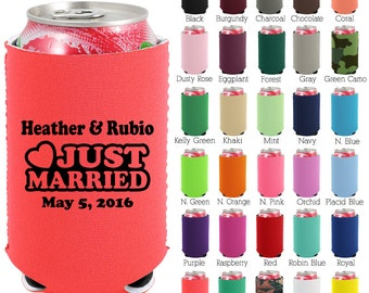 Custom Neoprene Can Coolers (1415) Just Married - Beer Can Coolers - Personalized Can Cooler - Wedding Favors