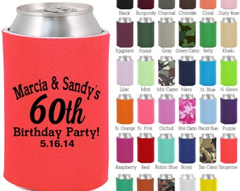 Birthday Can Cooler (C19204) 60th Birthday - Personalized Birthday Favors - Custom Party Favors - Birthday Can Coolers