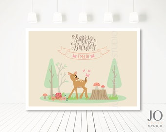 Woodland / Forrest Friends Themed / Candy Buffet / Sweet Table / Photobooth Printable Backdrop for a Woodland Party