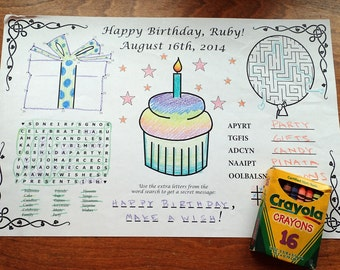 Birthday Coloring and Games PDF. Custom Name & Date. Kids, Maze, Favor