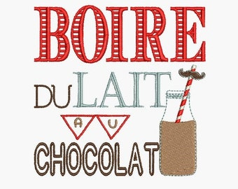 Instant download   Machine Embroidery design  drink chocolate milk