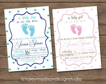 Baby Feet Baby Shower Invitation boy or girl DIGITAL FILE