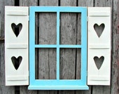 """Window with hinged shutters and shelf, hearts  in shutters 31-1/2"""""""" wide 24-1/2"""" high"""