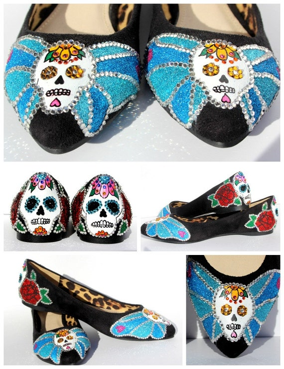 Sugar Skull Hand Painted and Swarovski Crystal by ...