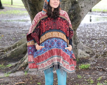 Hooded Short Poncho, Handmade Poncho, Finest Softest Yak Wool Poncho, Festival Wrap Cape