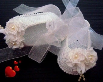 Handmade Christening Baby Ballet Slippers -Satin Flowers Shoes. White crocheted summer booties with beads.READY TO SHIP!