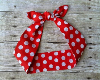 Rosie the Riveter red polka dot headband bandana pinup hair tie dolly bow top knot
