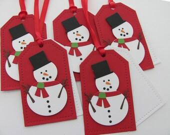 Snowman Christmas Gift Tags, Christmas Favor Tags,  Holiday Gift Tags, Snowman Gift Tags, Red, Snowman,Christmas Gift Tags, Snowman Tags