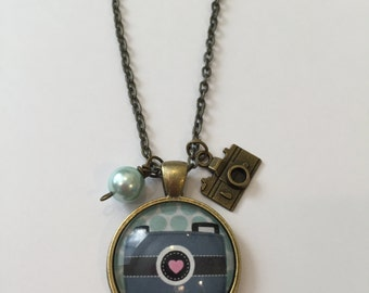 Pendant Necklace Glass tray Blue Camera Made with Bead and Camera Charm