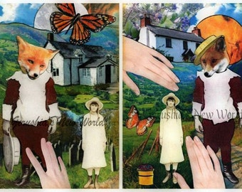 Jubal's Gift to Lucy and Jubal's Huckleberry Heart - Anthropomorphic, Collage, Mixed Media, Fox,  Print Set