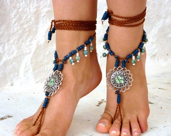 "Royal"" Barefoot Sandals, Barefoot shoes, Blue ceramic beads, Hippie Sandals, soft crystal, Foot Jewelry, Toe Thong"