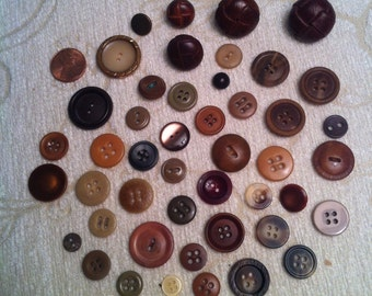 Brown & Tan Buttons, Mixed Lot of 46, Vintage