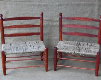 Vintage pair child's chair, vintage wood childs chair, vintage wood doll chair, antique wood chair, antique childrens chair, antique  chair,