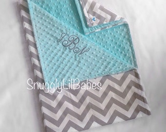 Grey chevron, aqua minky dot baby blanket