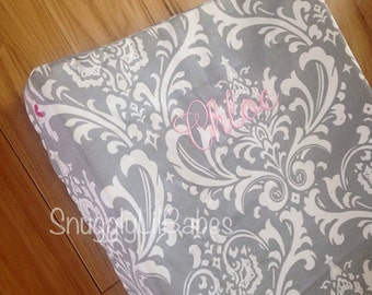 Grey damask changing pad cover, avail. in different colors