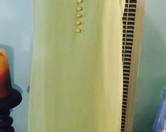 Vintage 60s lime & yellow cape train maxi dress