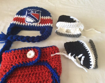 New York Rangers Baby Crochet Hockey Earflap Hat, Diaper Cover, and Skate Booties.