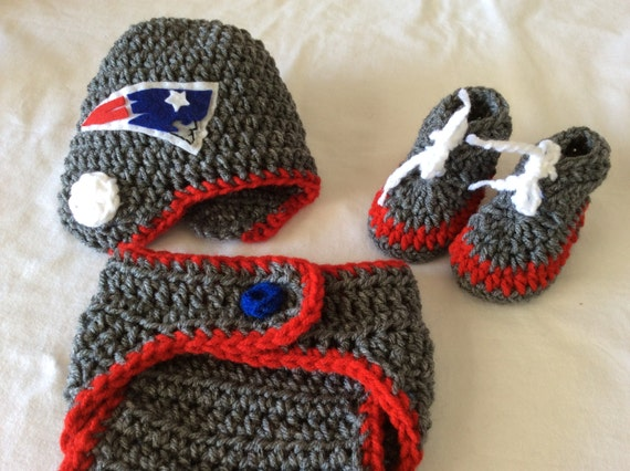 Free Crochet Pattern For New England Patriots Afghan : FREE SHIPPING Baby Crochet Football Hat Diaper Cover by ...