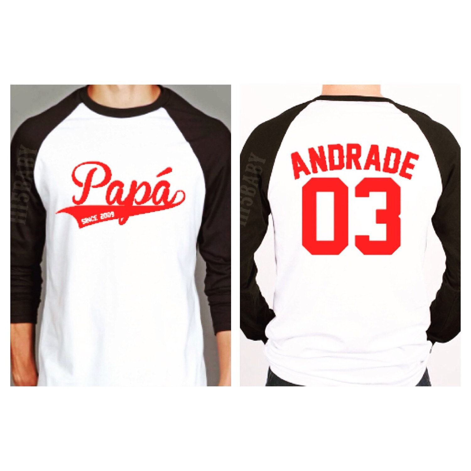 Personalized dad raglan shirt baseball by hi5babyhandmadegoods for Custom raglan baseball shirt