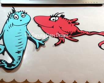 Dr. Seuss scrapbooking, Dr. Seuss Die cut, Dr. Seuss Red Fish and Blue Fish die cut for scrapbook