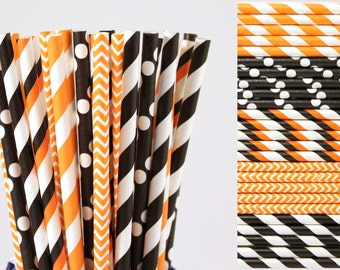 Halloween Paper Straw Mix-Orange Straws-Black Straws-Striped Straws-Polka Dot Straws-Chevron Straws-Party Straws-Mason Jar Straws