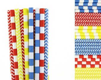 Red Blue and Yellow Paper Straw Mix-Red Straws-Striped Straws-Yellow Straws-Chevron Straws-Superhero Party Straws-Blue Straws-Train Party