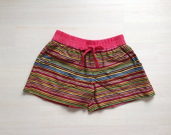 Cotton woman summer shorts board shorts surf shorts 2 in 1 shorts / mulicolors stripes print