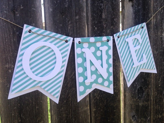 Turquoise One banner, High chair banner,