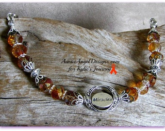 Leukemia Awareness Jewelry; Miracles for a Cure for Leukemia Bracelet; Orange Ribbon Awareness Jewelry, Fight Leukemia Bracelet