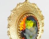 Sarah Coventry Pendant, amber stone. c1980s