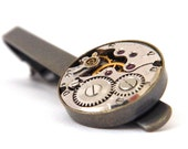 Steampunk Tie Bar / Clip. Vintage Watch Movement. Antique Bronze & Silver Men's Accessories. Father's Day.