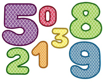 Round numbers applique design instant download machine embroidery design. Birthday numbers applique set in 3 sizes. Round digits set