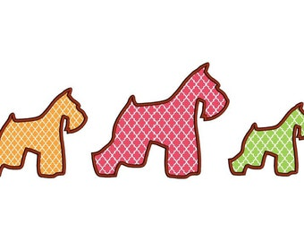 Schnauzer applique design in 3 sizes. Dog applique embroidery design. Instant download schnauzer applique design 4x4 hoop. Dog design.