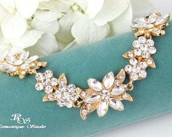 Gold crystal bracelet bridal bracelet wedding bracelet cuff bridesmaid bracelet bridesmaid gift wedding jewelry accessories B0154G