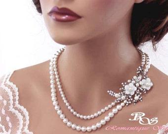 Statement Wedding Necklace Bridal Jewelry Pearl Bridal necklace Pearl Necklace Brooch Wedding Jewelry Wedding Accessories 2124