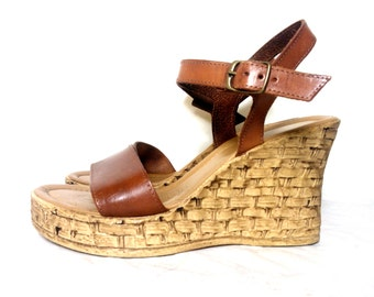 Vintage Italian Tan Leather Upper Wedge Platform Sandals, Size :  EU 39 /  UK Women's 6 / US Women's 8 1/2
