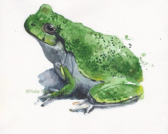"""Original watercolor painting frog 11x9 1/2"""""""
