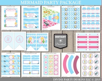 INSTANT DOWNLOAD Printable Mermaid Birthday Party Package / Blonde Hair / 12 Items / Mermaid Collection / Item #700