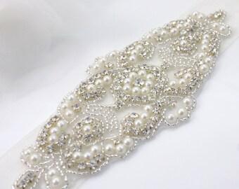 ALANA - Ready To Ship - Vintage Inspired Wedding Belt, Bridal Beaded Sash, Rhinestone Belts, Crystals Sashes, Pearl Belt