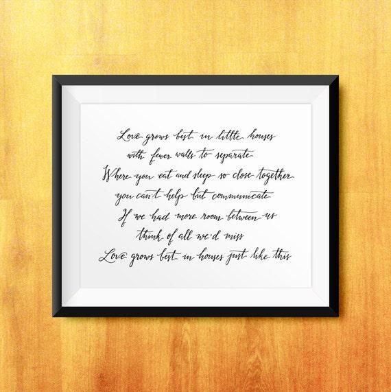 little house printable lyrics modern calligraphy
