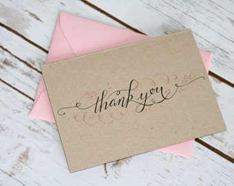 Rustic Kraft Paper Thank You Cards. Vintage Wedding Thank You.