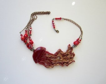 Scarlet Jellyfish Bib Necklace Brass Chain, Red jellyfish, red necklace