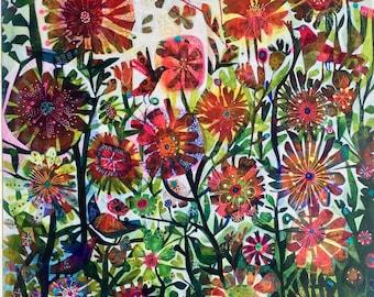 An Este MacLeod colourful print 'Birds in the garden'
