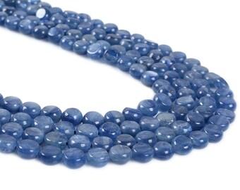 "0771 6mm Blue Kyanite coin disc loose gemstone beads 16"""