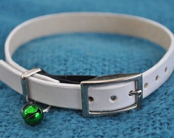 FULL MONTY | Monty Selection White Leather Cat Collar