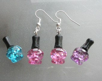 Earrings Dangle Mini Nail varnish/purple/hot pink/Blue/Birthday/Valentine/Mothers Day gift/Novelty/charm 1 pair