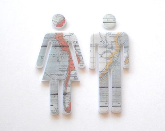Bathroom Sign, Wall Decor -Maps - Male and Female Sign