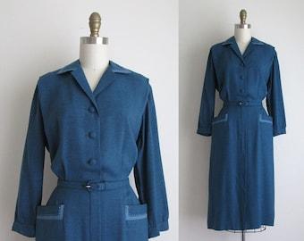 "1940s Dress / Vintage 1940s Dress / Blue Rayon Day Dress 28"" Waist"