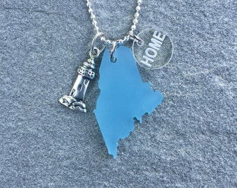 Maine Sea Glass Style Lighthouse Necklace